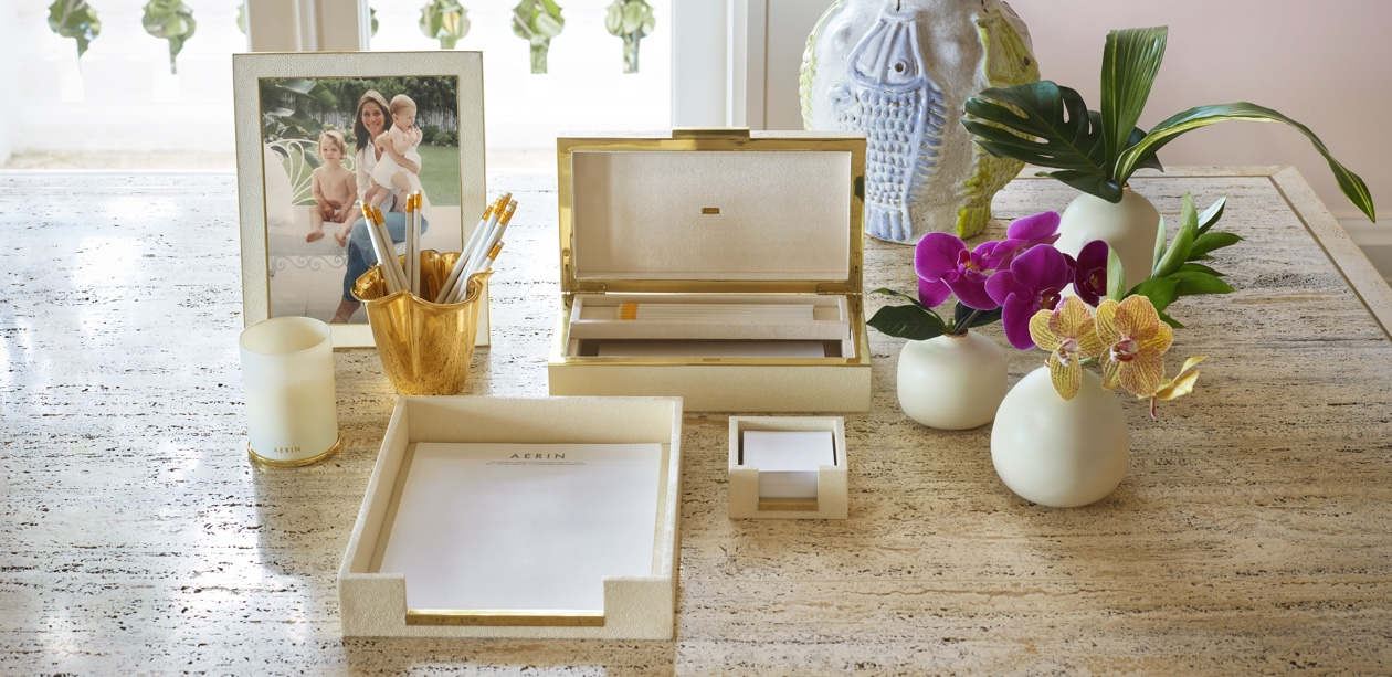 cream shagreen products to organize an office