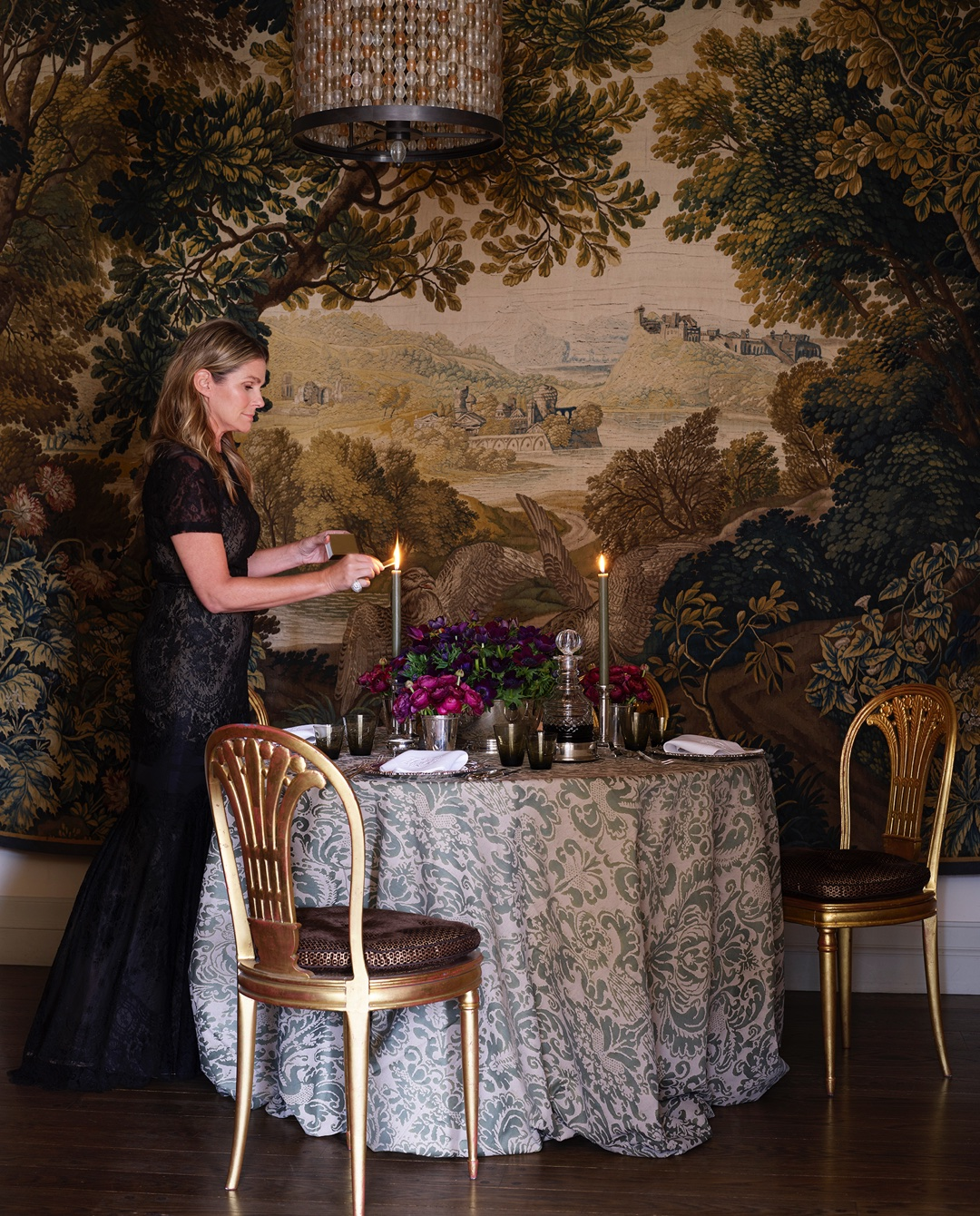Aerin setting the table