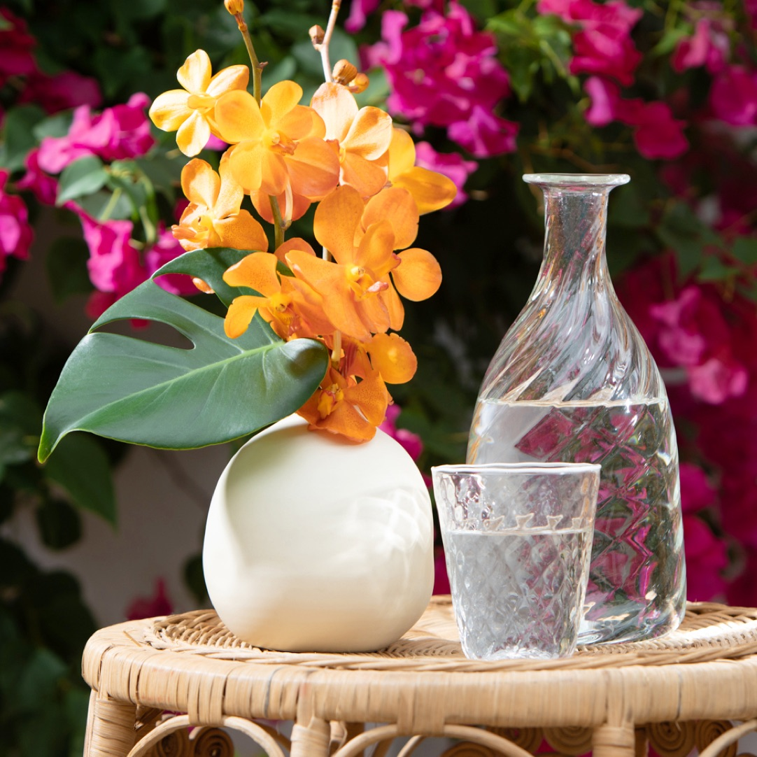 The AERIN medium eloise vase with the optic carafe and artisanal tumbler