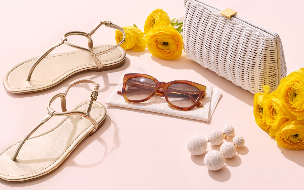 Leather T-strap Sandals, Hamptons Sunglasses and the Adelina clutch are perfect summer fashion accessories