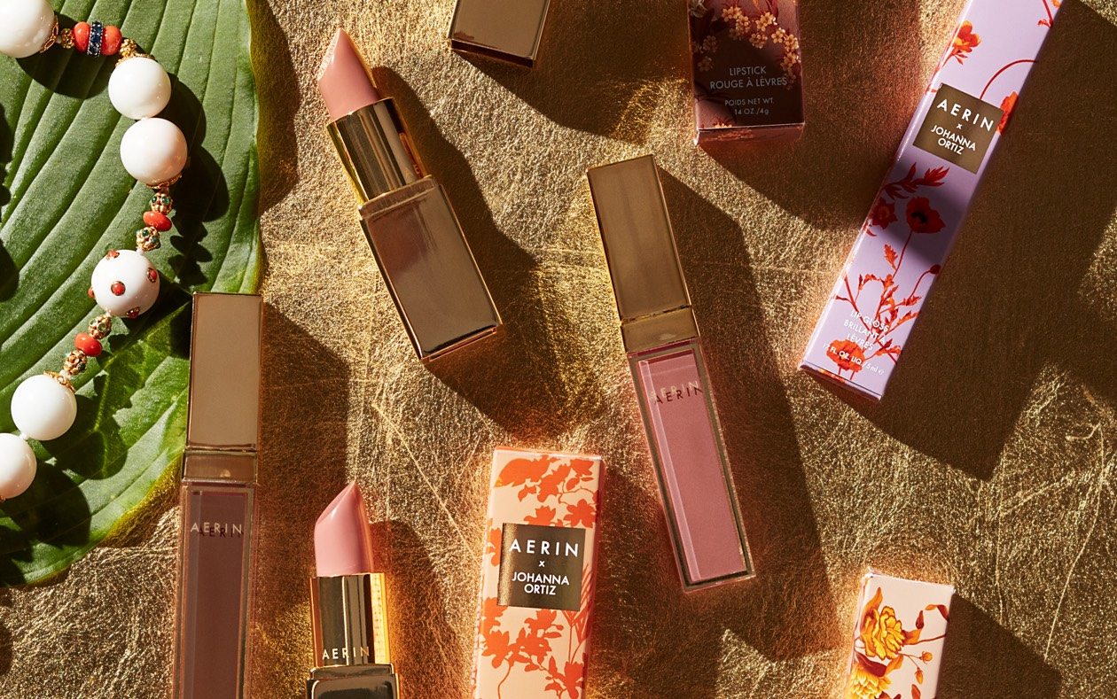 Featuring the new collection of lipsticks and lipglosses created by AERIN x Johanna Ortiz