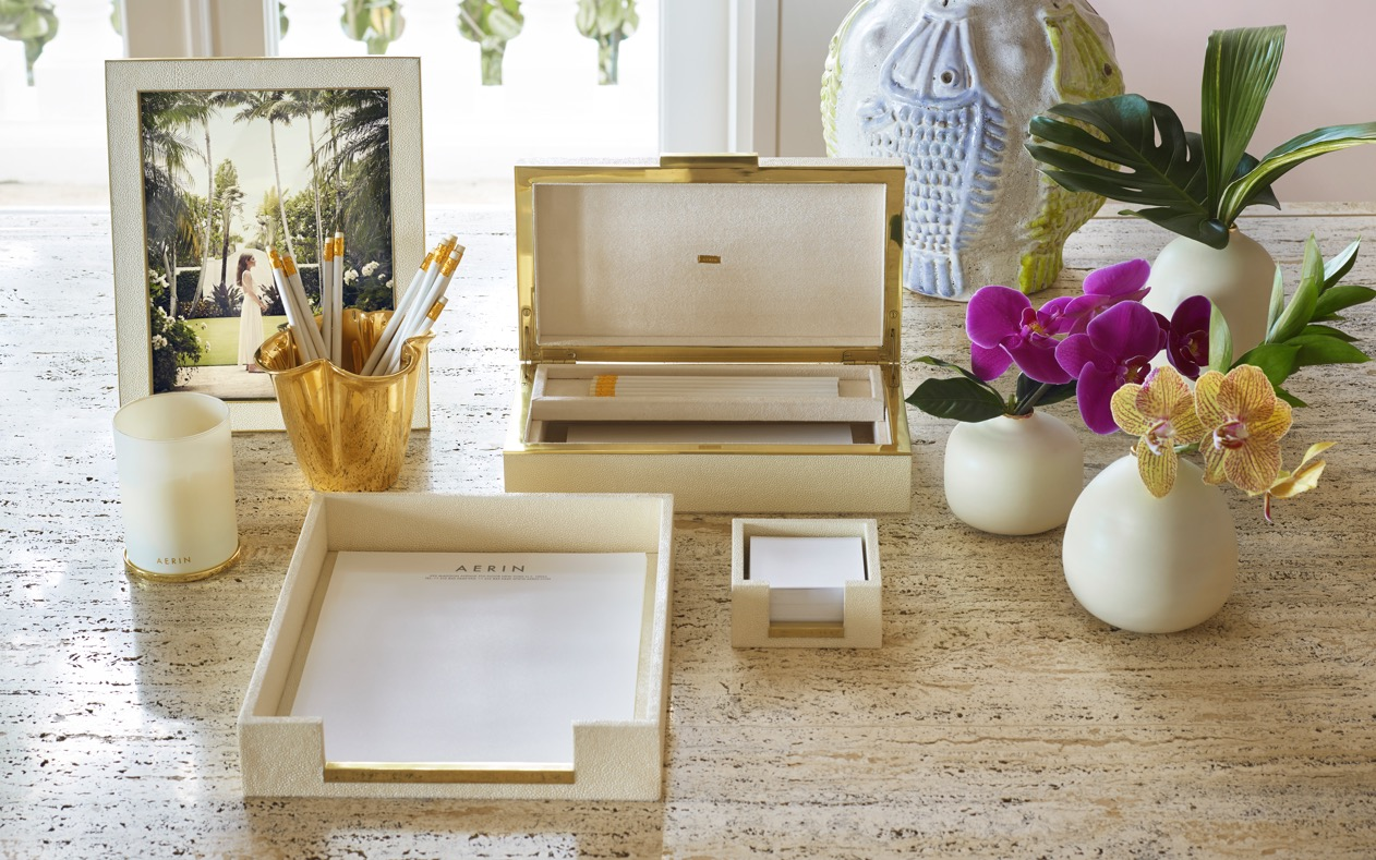 AERIN cream shagreen desk accessories bring effortless luxury to any home