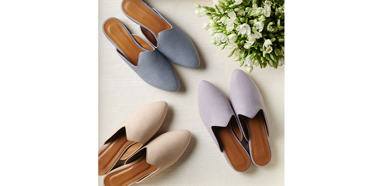 The linen mules from the AERIN x Le Monde Beryl collaboration