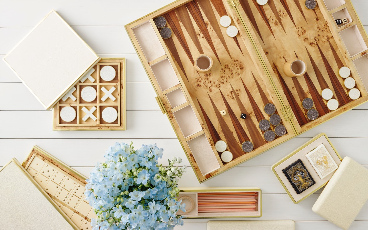 AERIN Cream Shagreen Domino Set, Pickup Sticks, Backgammon Set, Card Case and Tic Tac Toe Set
