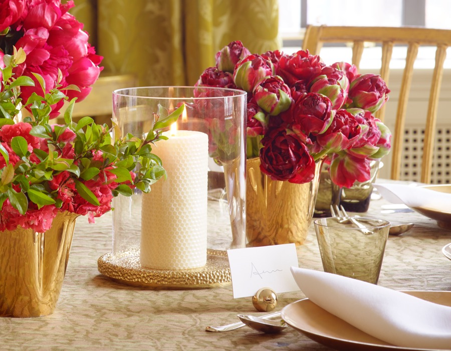 A tabletop set with an AERIN Tulln Hurricane, Mattea Place Card Holders and Gilded Clover Vases