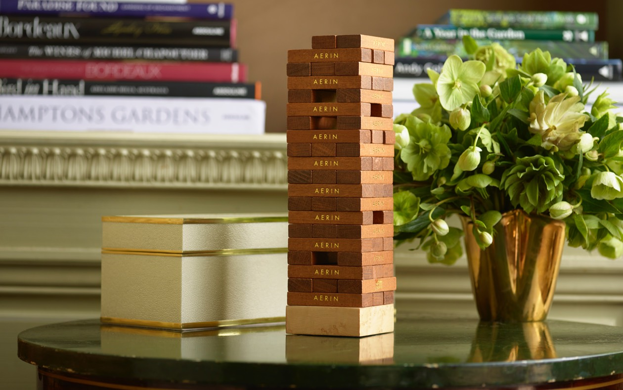 The new Cream Shagreen Jenga Set is a perfect addition to family game night.