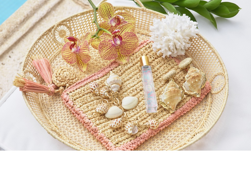 AERIN Wicker Tray and Small Trimmed Raffia Pouch with Aegea Blossom rollerball