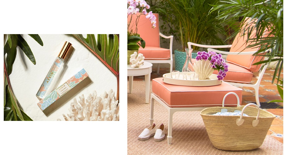 A coral palm rollerball image next to a scene from the AERIN Palm Beach Store of straw bag and shagreen tray