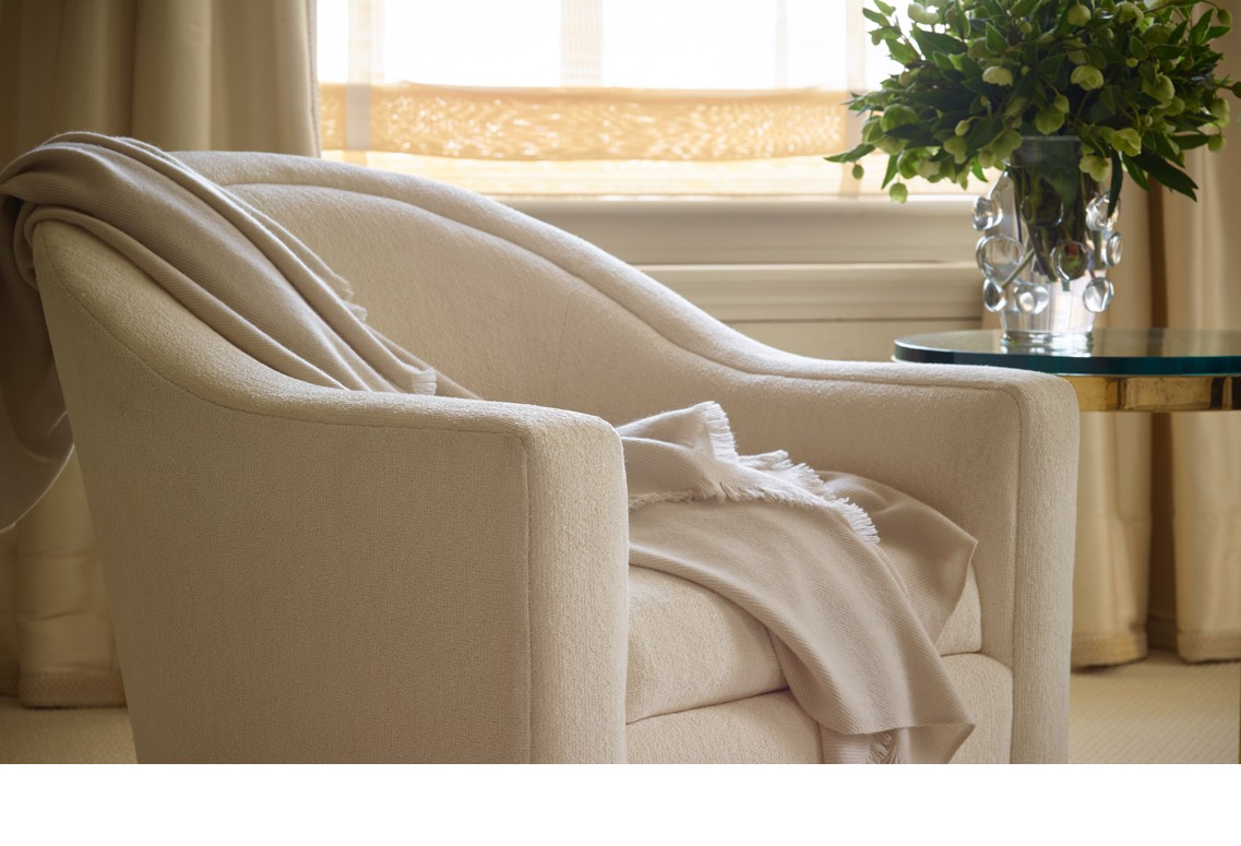 The new Noe Cashmere Throw in Aerin's bedroom