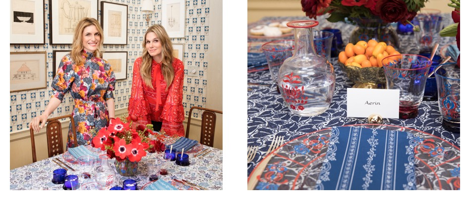 Aerin Lauder and Martina Mondadori Sartogo stand near a table that features various products from their collaboration
